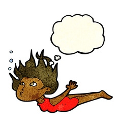 Cartoon woman swimming underwater with thought vector