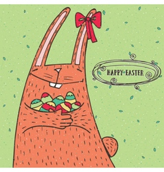 Happy easter rabbit with easter eggs vector