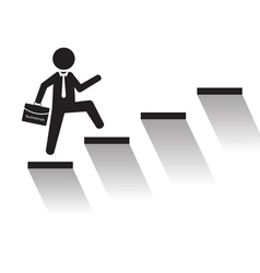 Business man climb stairs over white background vector