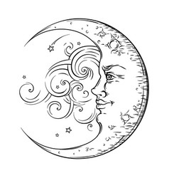 antique hand drawn art crescent moon boho style vector image vector image