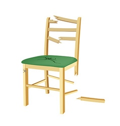 Broken wooden chair with green seat vector