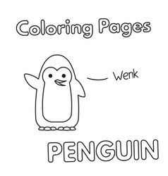 Cartoon penguin coloring book vector