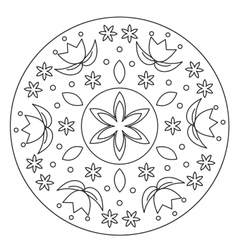 Coloring simple flower mandala vector