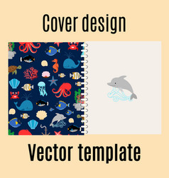 Cover design with sea pattern vector
