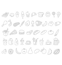 Different food doodles Lineart hand-drawn elements vector image vector image