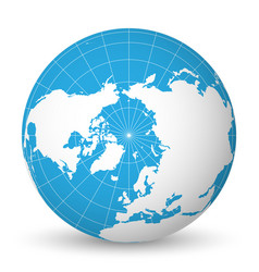 earth globe with white world map and blue seas and vector image vector image