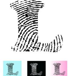 Fingerprint Alphabet Letter L vector image vector image