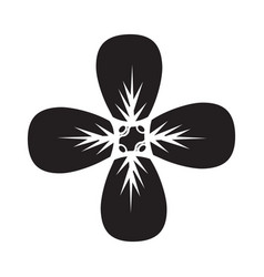 flat black petals icon vector image