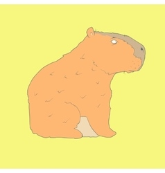 Flat hand drawn icon of a cute capybara vector