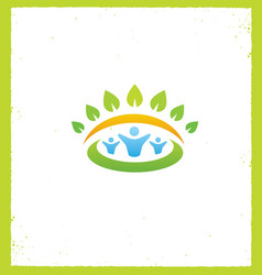 Green ecology people icon vector