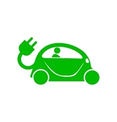 Green electric car icon simple style vector
