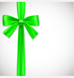 Green ribbon with bow vector