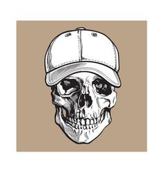 Hand drawn human skull wearing black and white vector