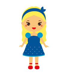 Kid girl in fashionable clothes cute baby girl in vector