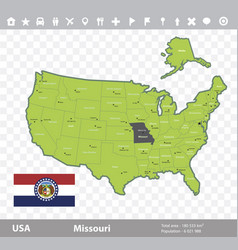Missouri flag and map vector