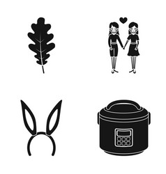 Oak leaf same-sex love and other web icon in vector