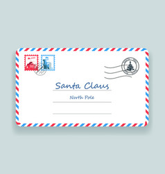 santa claus christmas mailing address letter post vector image