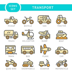 Set color line icons of transport vector image