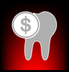 The cost of tooth treatment sign postage stamp or vector