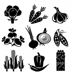 Vegetables icons vector