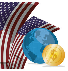 world money coins flag usa vector image