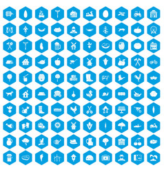 100 farm icons set blue vector