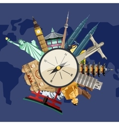 Time to travel concept with famous attractions vector