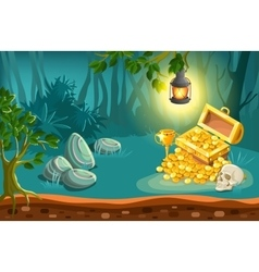Treasure chest and fantasy landscape vector