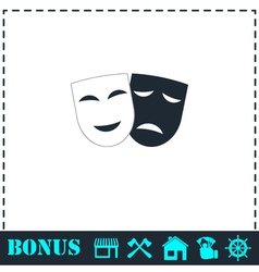 Comedy and tragedy theatrical masks icon flat vector