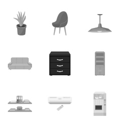 Office furniture and interior set icons in vector