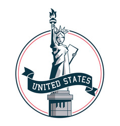 statue of liberty united states symbol badge vector image