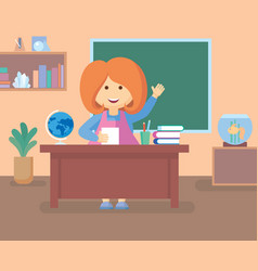 Teacher in class room vector