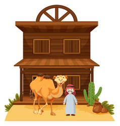 Arab man and camel at western style building vector