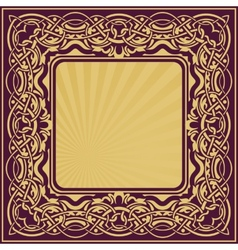Gold frame with floral ornamental vector