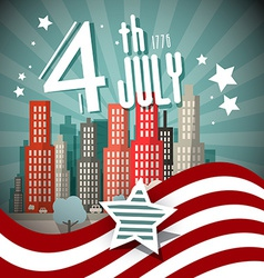 4 th july retro with flag and city on backgr vector
