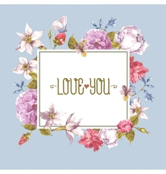 Vintage greeting card watercolor vector