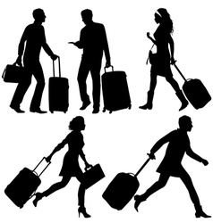 People silhouettes in a hurry at the airport vector image
