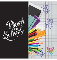 Calligraphic back to school with set vector