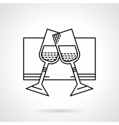 Glasses of champagne black flat line icon vector
