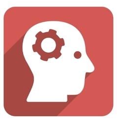 Intellect mechanism flat rounded square icon with vector
