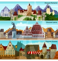 European cityscapes banners set vector