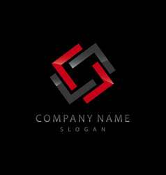 abstract logo 2 black background vector image vector image