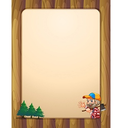 An empty template with a lumberjack carrying an vector image vector image
