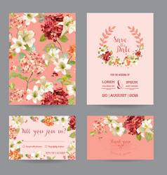 autumn vintage hortensia flowers card for wedding vector image vector image