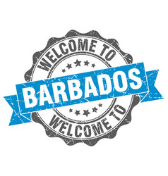 Barbados round ribbon seal vector