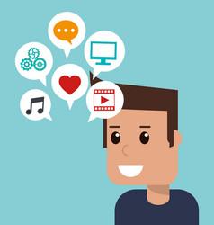 cartoon man social media apps vector image