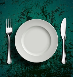 Ceramic plate fork and knife vector image vector image