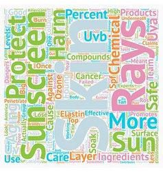 Chemical compounds in sunscreen text background vector