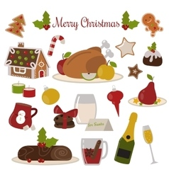 Christmas food set vector