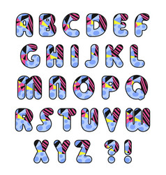 Colorful alphabet decorative font vector